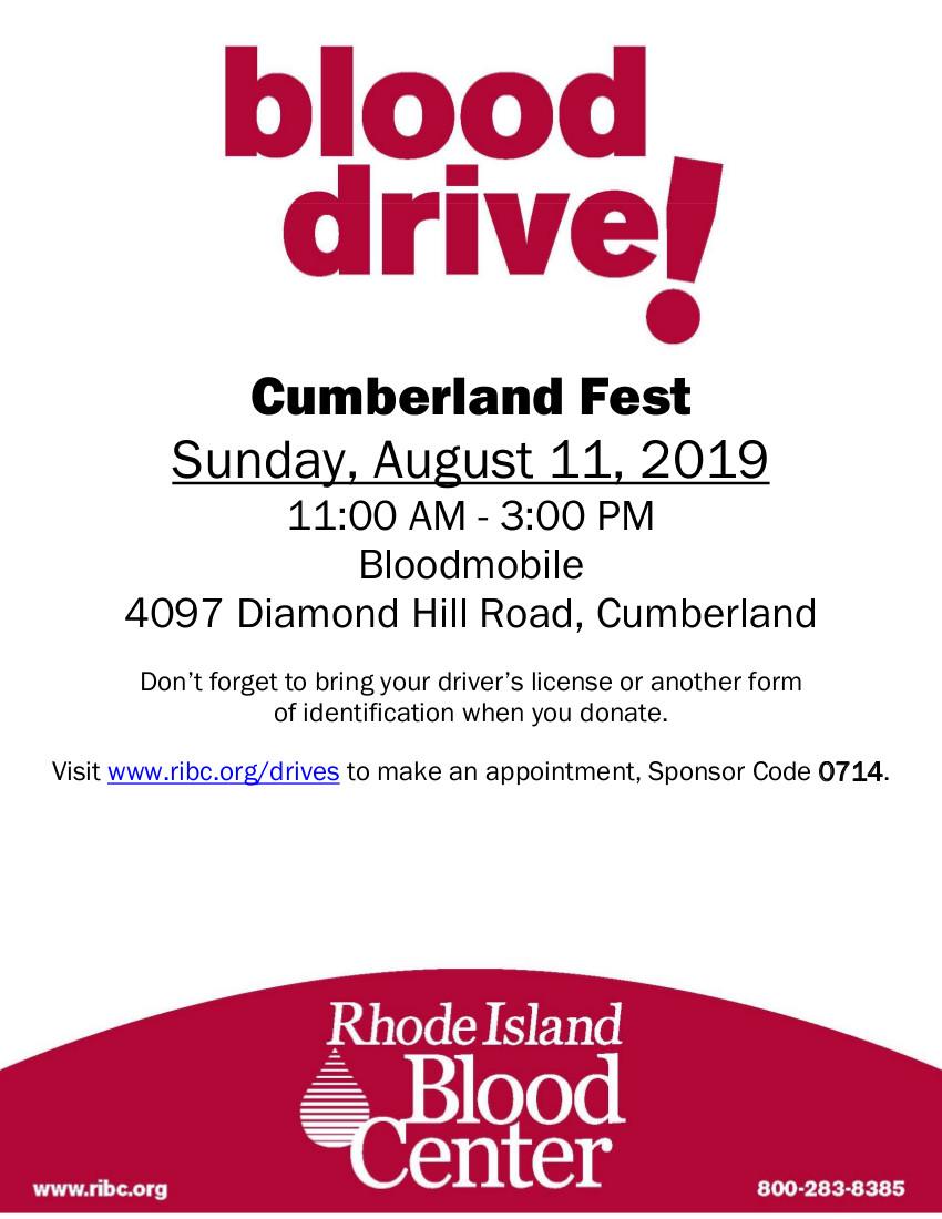 RI Blood Center Cumberland Fest 8/11/19
